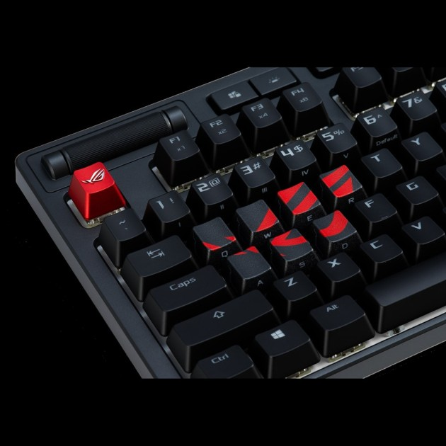 ASUS ROG Gaming Keycap Set with premium textured side-lit design for FPS/MOBA keys, compatible with Cherry MX Switches