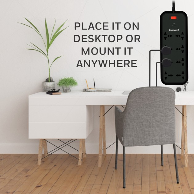 Honeywell 8 Socket Surge Protector with master switch Black